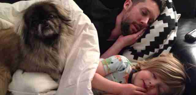 dad dog baby recreate cuddle photo