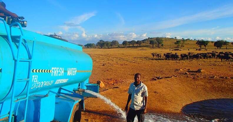water truck in tsavo kenya