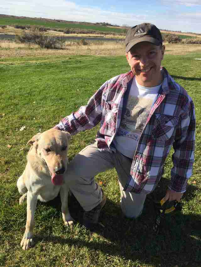 Idaho dog Casey with Mansfield family dad