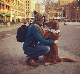 Loubie hugging her owner in NYC