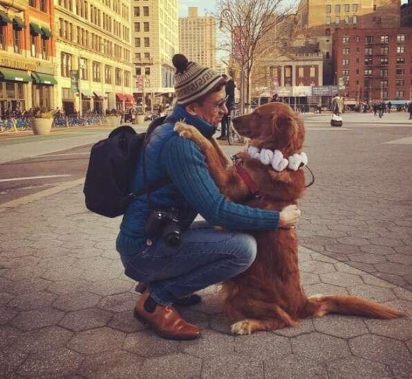 Loubie hugging her owner in NYC