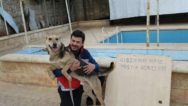 Alaa and his new dog, Hope