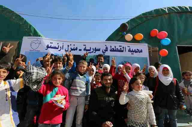 Birthday party at new cat sanctuary in Syria