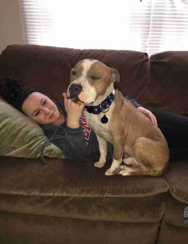 Russ the pit bull with his new mom, Kayla
