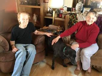 Elderly couple Lillian and Red Bibber with senior dog Shelby