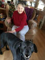 Lillian Bibber with senior dog Shelby