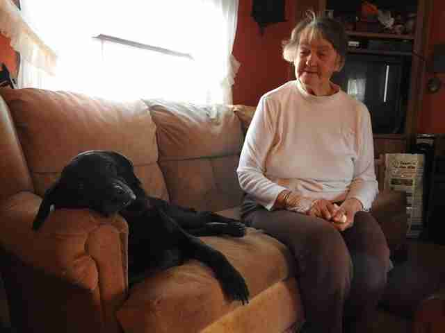 Elderly woman Lillian Bibber with senior dog Shelby