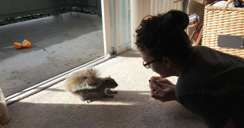 woman makes scenes for squirrels