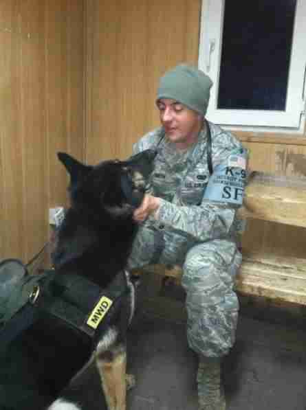 Bodza the military dog with his owner, Kyle Smith