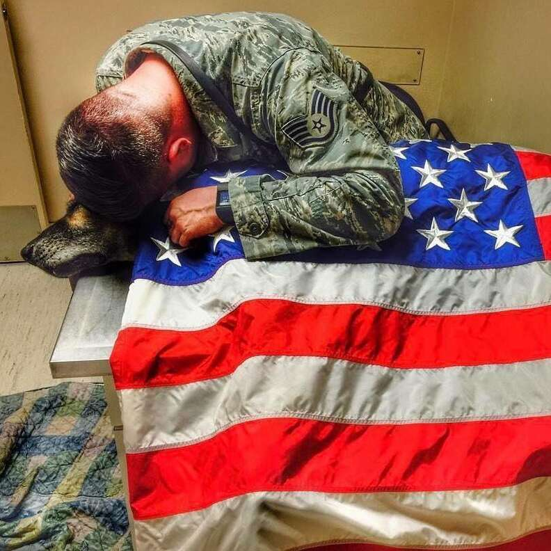 Solider Kyle Smith crying over the body of his beloved dog, Bodza, who once worked as a bomb detector for the U.S.air force
