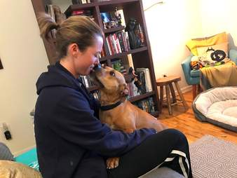 Pit bull saved from fighting kisses foster mom