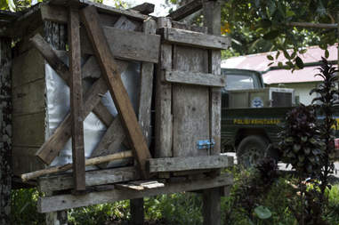 Wooden cage for orangutan
