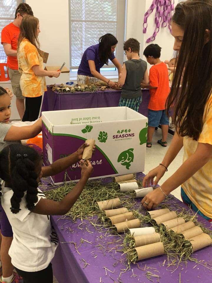 kids making toys for shelter animals