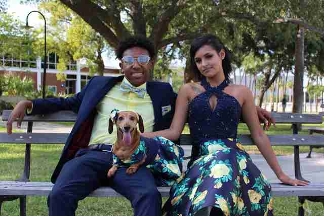 Prom couple with dog