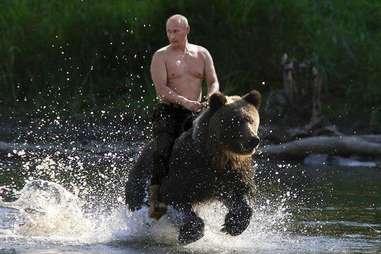 shirtless putin riding a bear