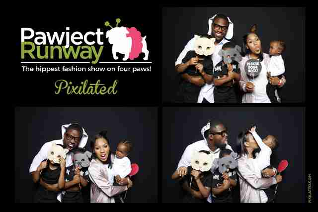 Torrey and Chanel Smith family having fun at the Pawject Runway photo booth