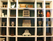 White shelves with assorted objects