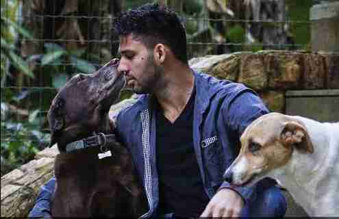 David Miranda, with his dogs