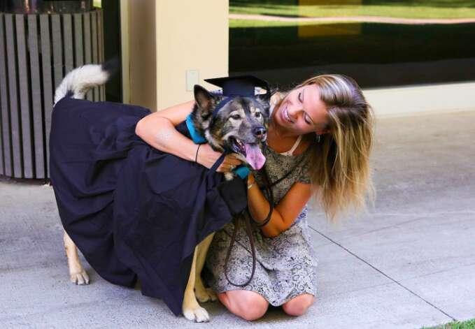 dog graduates from Eckerd College