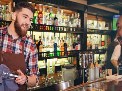 bartender talking with customer