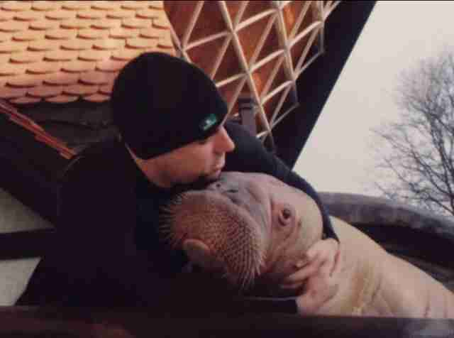 Phil Demers and Smooshi the walrus at Marineland