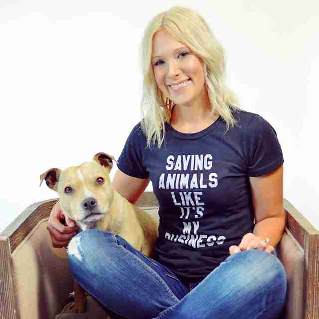 Alisha Westerman with franky wearing an Animal People T-shirt