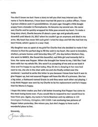 beagle's new mom writes letter to previous owner