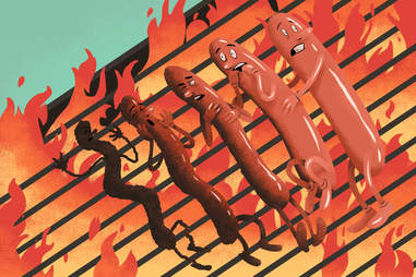 Burned hot dogs
