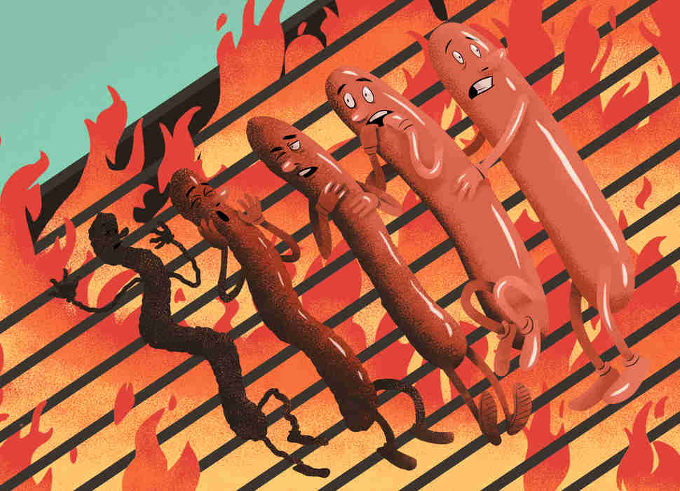 Burned hot dogs
