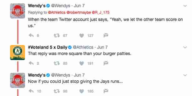 A's burn Wedny's on Twitter