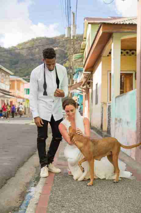 Logan Ryan and Ashley Bragg with dog