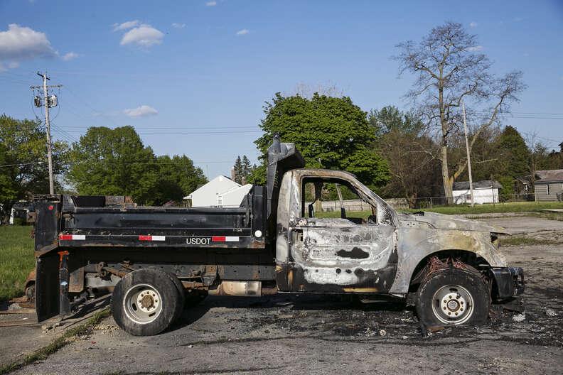 Burned car in Flint, Michigan