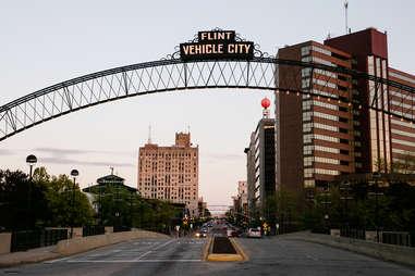 Vehicle City sign in Flint, Michigan