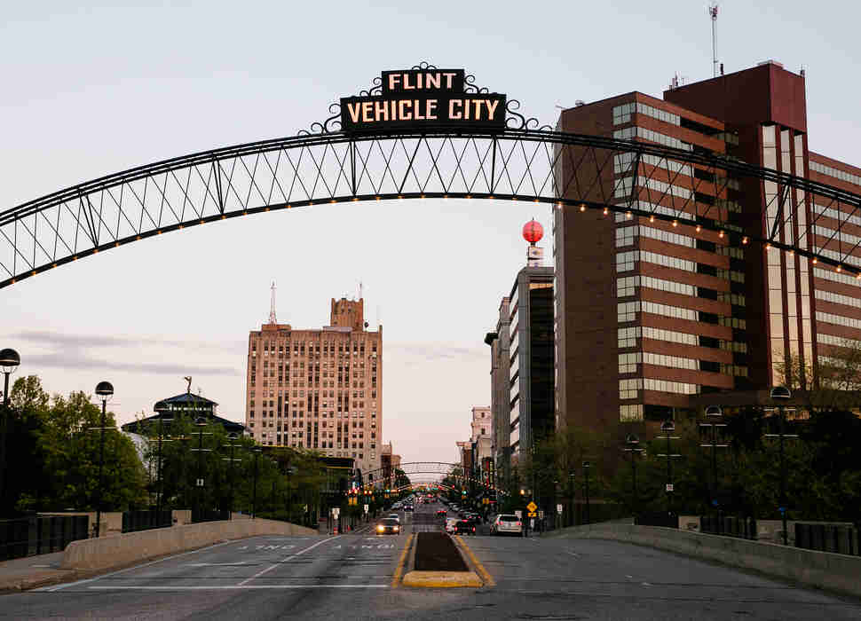 Vehicle City sign in Flint, Michigan
