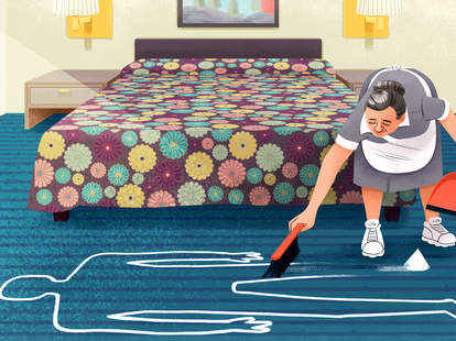 Maid Cleans Murder Chalk Outline in Hotel Room