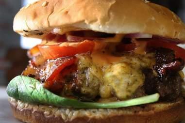 hamburger from Luke's Inside Out food truck