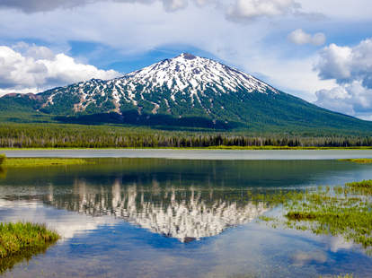 Mount Bachelor reflecting in lake