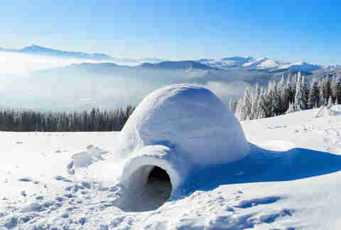 Snow Camping in an igloo