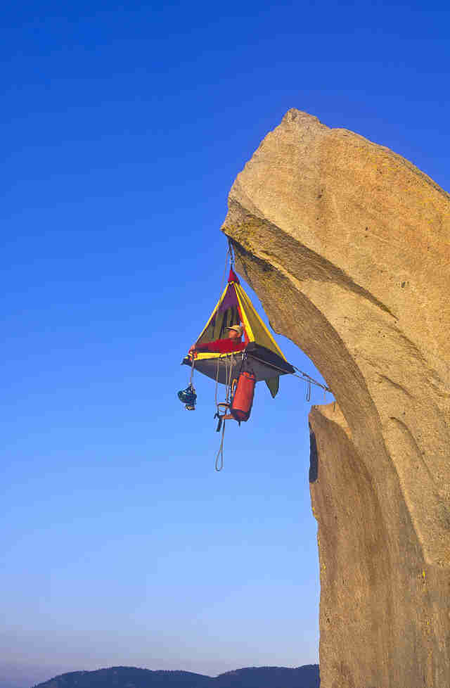 Tent hanging off cliff