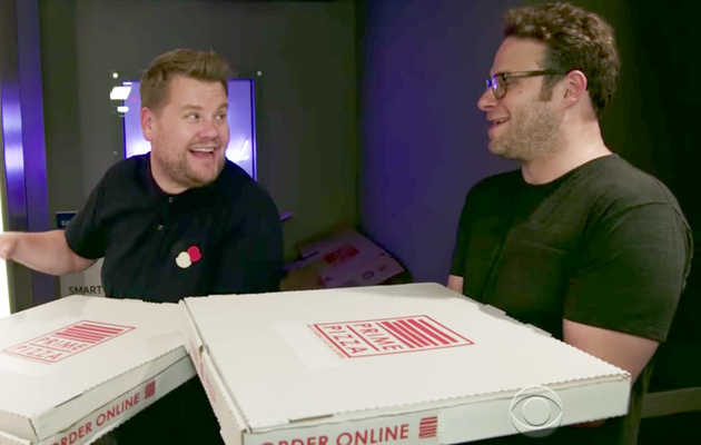 Seth Rogen and James Corden Surprised Strangers with 'Mystery Pizza' Deliveries