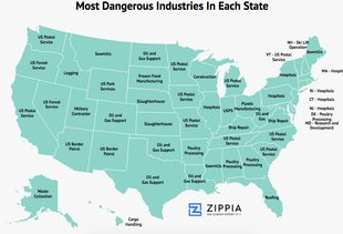This Map Shows The Most Dangerous Jobs in All 50 States