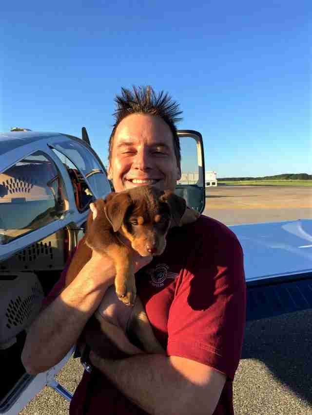 Pilot and rescue dog