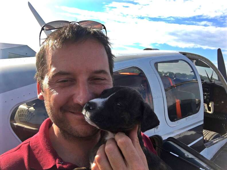 Pilot with puppy