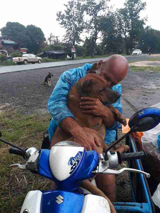 Man hugging street dog in Thailand
