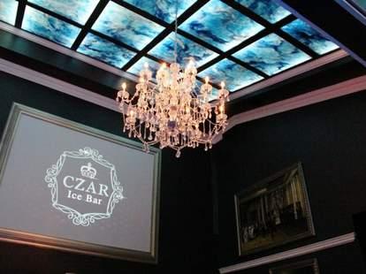 Chandelier inside Czar Ice Bar