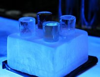 Ice block with drinks in it
