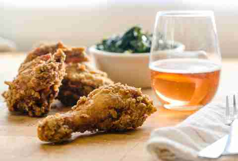 Fried Chicken and wine at Fifth Street Eatery