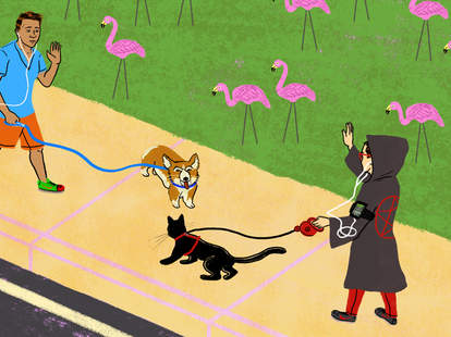 Satanists walking their satanist kitty