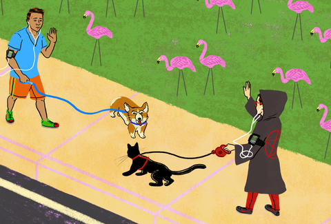 Satanists walking their satanist kitty