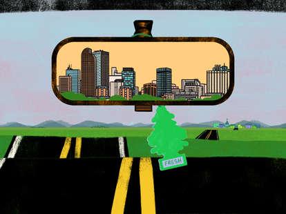 Denver, Colorado in the rearview mirror